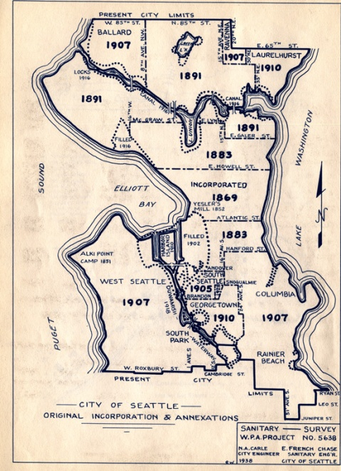 City of Seattle Annexation Map