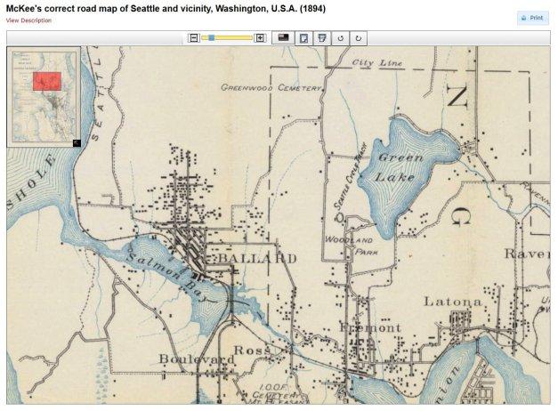 Ballard West Woodland McKees Correct Road map 1894