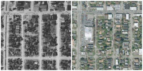 Then and Now - corner of 8th and NW 65th