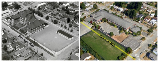 Then & Now - WWES aerial - with markings