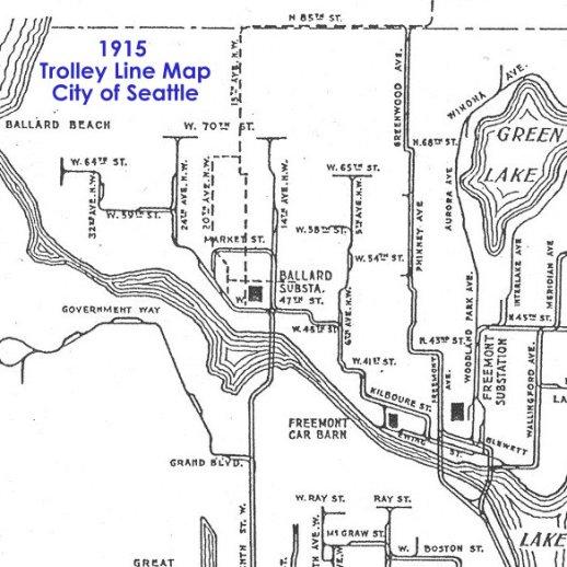 1915 Trolley map